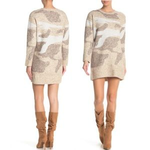 RD Style Camo Print Sweater Dress L NWOT
